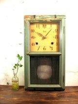 大正頃・Meiji・明治時計・振り子時計・緑色(渦ボン・電池式・クォーツ改造)