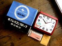 1970年代・東京時計・シリコン・クロック・ソフィア・NO.710・赤・角型・箱付・デッドストック(スイープ・クォーツ改造)