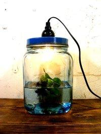 昭和30年代・ゆらゆらガラス・海苔瓶・青・小・ランプ(LEDフィラメント電球)