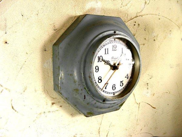 画像3: 1940年代・アメリカ・ROYAL ELECTRIC・ロイヤル・エレクトリック・クロック・8角型・水色(電池式・スイープ・クォーツ改造)