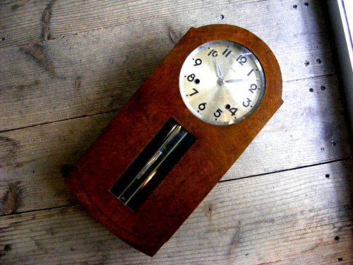 1: 大正頃・RUBY・ルビー印・加賀屋商店・R型・振り子時計(電池式・クォーツ改造)