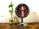 1970年代・シチズン・ミューズ・目覚時計・手巻式・51129・球型・足付き・紫・グラデーション文字盤(電池式・スイープ・クォーツ改造)
