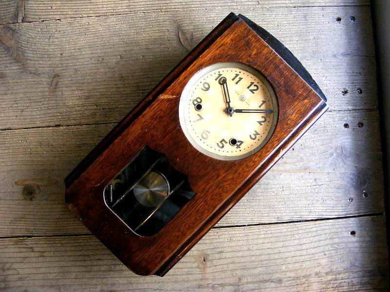 大正頃の古時計の鶴巻時計店英工舎・振り子時計(電池式・クォーツ改造)が仕上がりました。