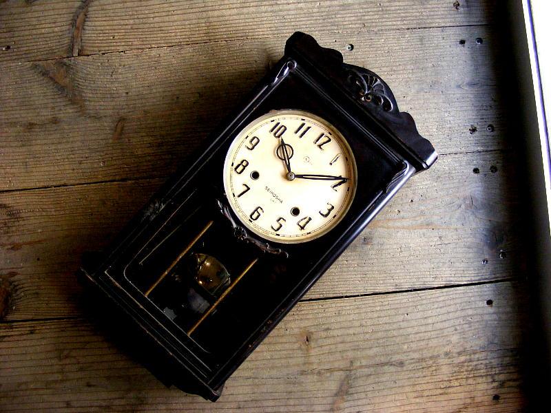 昭和初期頃のアンティーク柱時計の精工舎・14日巻・振り子時計(電池式・クォーツ改造)が仕上がりました。