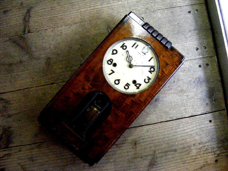 大正頃のアンティーク柱時計の舘本時計製造所・TUKYO・振り子時計(電池式・クォーツ改造)が仕上がりました。