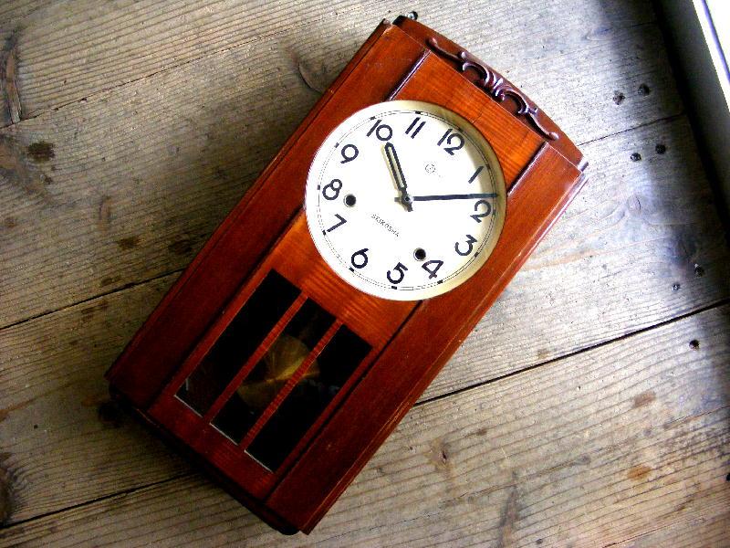 昭和初期頃のアンティーク柱時計の精工舎・振り子時計・角型(電池式・クォーツ改造)が仕上がりました。