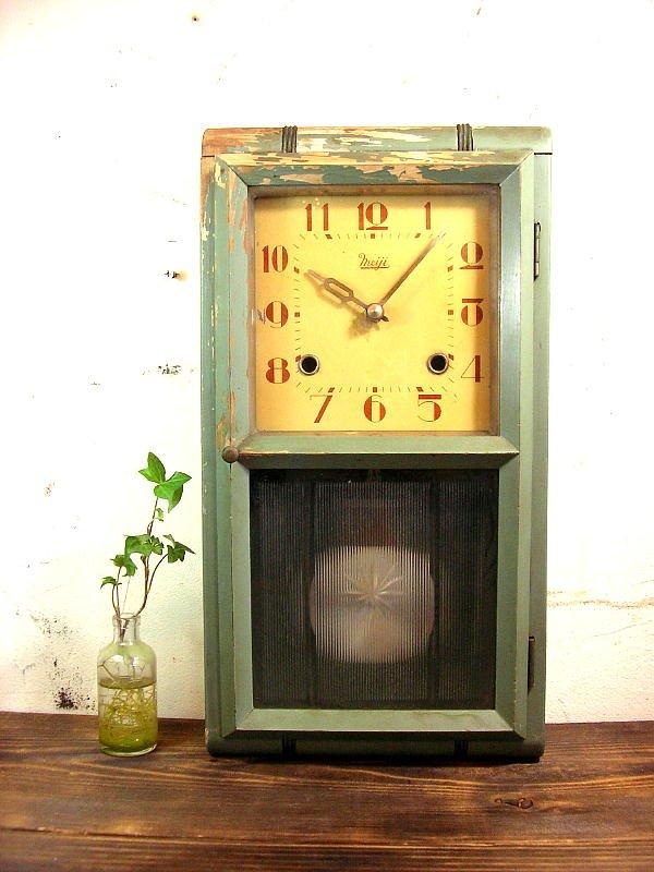 画像1: 大正頃・Meiji・明治時計・振り子時計・緑色(渦ボン・電池式・クォーツ改造)
