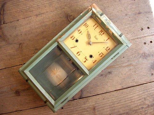 1: 大正頃・Meiji・明治時計・振り子時計・緑色(渦ボン・電池式・クォーツ改造)
