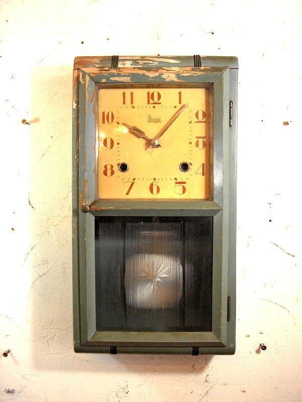 画像2: 大正頃・Meiji・明治時計・振り子時計・緑色(渦ボン・電池式・クォーツ改造)