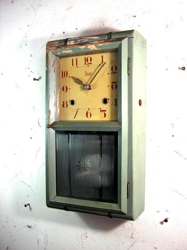 画像3: 大正頃・Meiji・明治時計・振り子時計・緑色(渦ボン・電池式・クォーツ改造)
