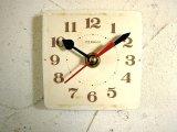 1960年代頃・ロシアのCEBAHN・アンティーク・クロックの文字盤の掛時計(角型・赤秒針)