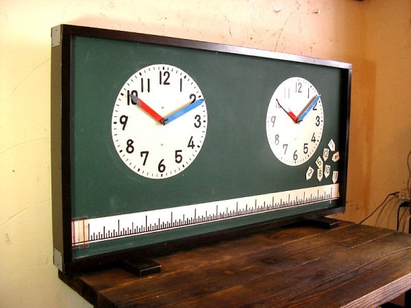 画像3: (株)広島精機製作所・時間時刻説明器・黒板(電池式・クォーツ改造)