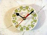 1960年代頃・ロシア・SEVANI・アンティーク・クロック・文字盤・掛時計・白X黄緑・電池式・スイープ・クォーツ