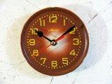 1960年代頃・ロシア・Maak・アンティーク・クロック・文字盤・掛時計・エンジ色・電池式・スイープ・クォーツ