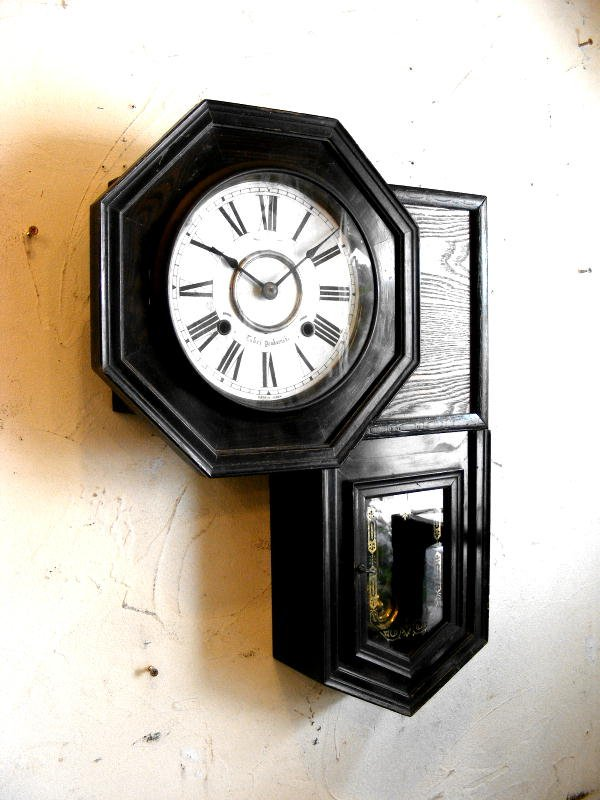 画像3: 大正頃・尾張時計・八角型・変形・振り子時計(電池式・クォーツ改造)