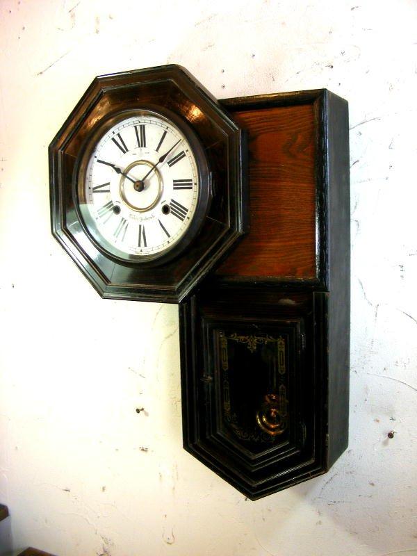 画像2: 大正頃・尾張時計・八角型・変形・振り子時計(電池式・クォーツ改造)