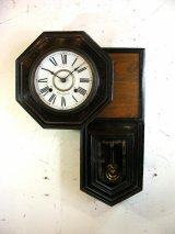 大正頃・尾張時計・八角型・変形・振り子時計(電池式・クォーツ改造)