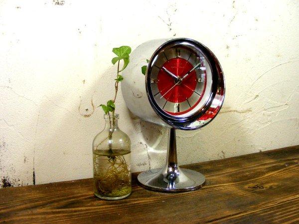 画像3: 1970年代・TOKYO・TOKEI・東京時計・アラーム・クロック・NO.1865・手巻式・足付き・赤文字盤(電池式・スイープ・クォーツ改造)