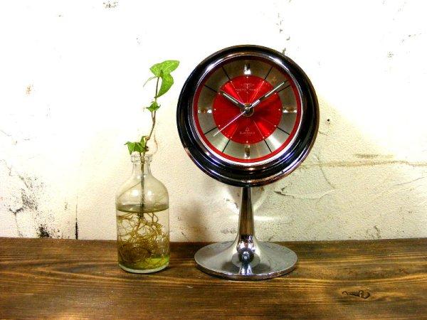 画像1: 1970年代・TOKYO・TOKEI・東京時計・アラーム・クロック・NO.1865・手巻式・足付き・赤文字盤(電池式・スイープ・クォーツ改造)