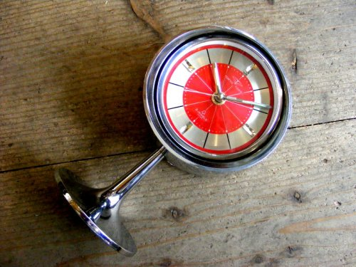 1: 1970年代・TOKYO・TOKEI・東京時計・アラーム・クロック・NO.1865・手巻式・足付き・赤文字盤(電池式・スイープ・クォーツ改造)