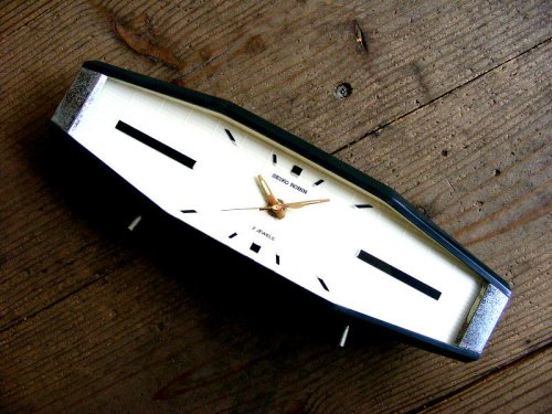 1: 昭和40年代・セイコー・ROBIN・ロビン・NO.2438・置時計・2石・手巻式・横長・足付き・ベークライト製(電池式・スイープ・クォーツ改造)