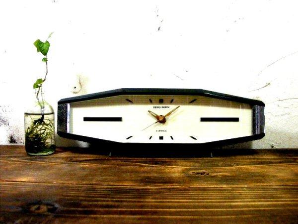 画像1: 昭和40年代・セイコー・ROBIN・ロビン・NO.2438・置時計・2石・手巻式・横長・足付き・ベークライト製(電池式・スイープ・クォーツ改造)