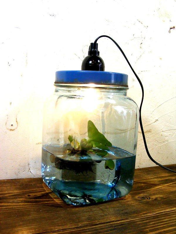 画像3: 昭和30年代・ゆらゆらガラス・海苔瓶・青・小・ランプ(LEDフィラメント電球)