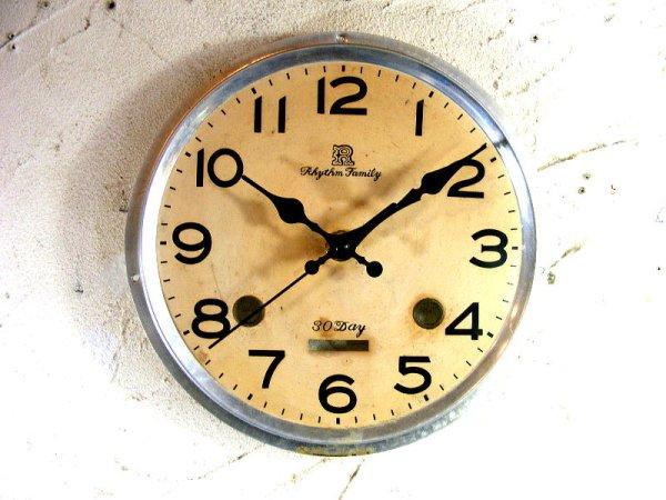 画像1: 昭和40年代頃・リズム・ファミリー・アンティーク・振り子時計・文字盤・掛時計(電池式・スイープ・クォーツ)