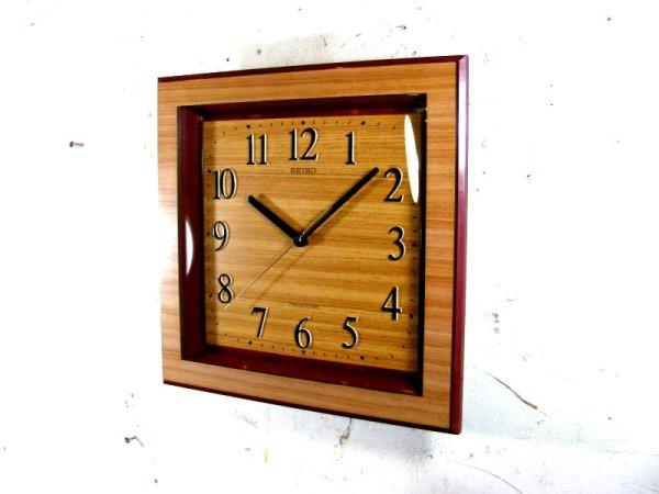 画像2: 1970年代・セイコー・トランジスター・振動子時計・RA727・角型・赤枠・木目調文字盤(電池式・クォーツ改造)