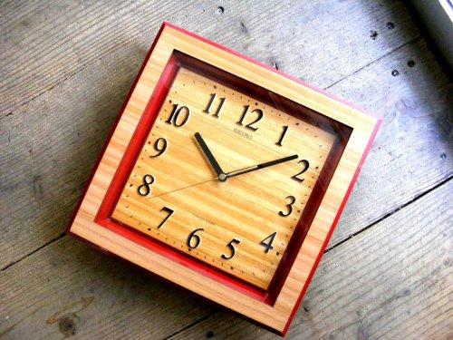 1: 1970年代・セイコー・トランジスター・振動子時計・RA727・角型・赤枠・木目調文字盤(電池式・クォーツ改造)