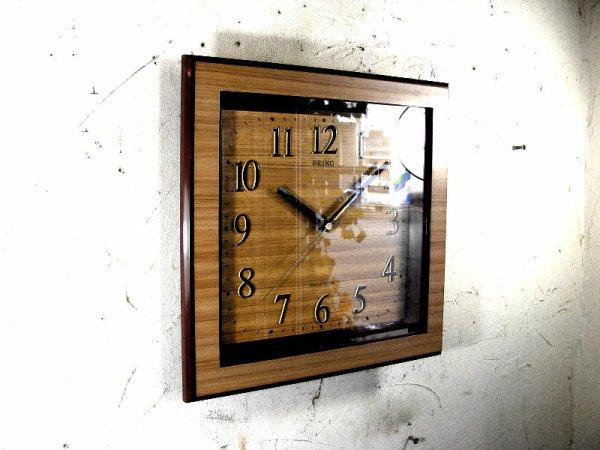 画像3: 1970年代・セイコー・トランジスター・振動子時計・RA727・角型・赤枠・木目調文字盤(電池式・クォーツ改造)