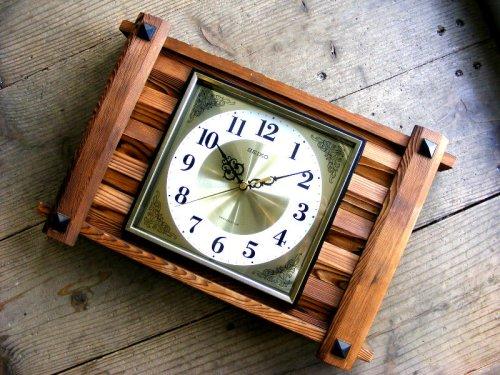 1: 1970年代・セイコー・トランジスター・振動子時計・RA7711・組み木・角型(電池式・スイープ・クォーツ改造)