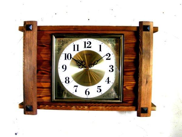 画像1: 1970年代・セイコー・トランジスター・振動子時計・RA7711・組み木・角型(電池式・スイープ・クォーツ改造)