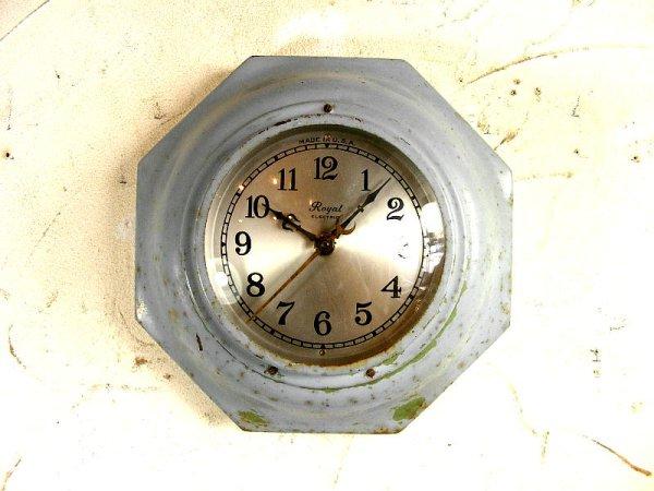 画像1: 1940年代・アメリカ・ROYAL ELECTRIC・ロイヤル・エレクトリック・クロック・8角型・水色(電池式・スイープ・クォーツ改造)