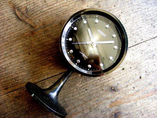 1: 1970年代・シチズン・ミューズ・目覚時計・手巻式・51111・足付き・Gマーク・グッドデザイン賞・ブラック・グラデーション文字盤(電池式・スイープ・クォーツ改造)