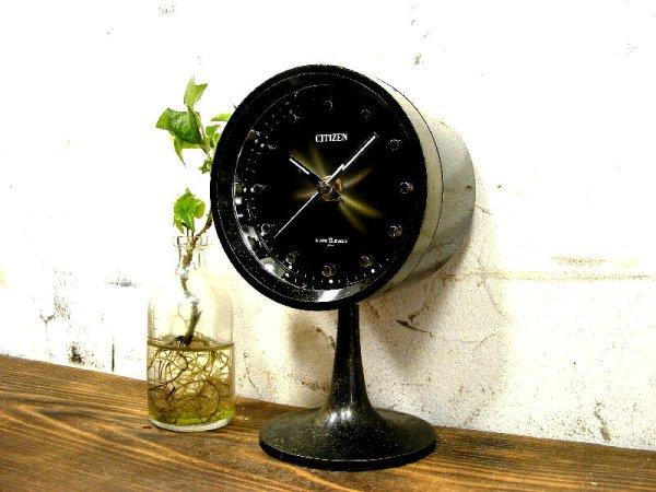 画像2: 1970年代・シチズン・ミューズ・目覚時計・手巻式・51111・足付き・Gマーク・グッドデザイン賞・ブラック・グラデーション文字盤(電池式・スイープ・クォーツ改造)