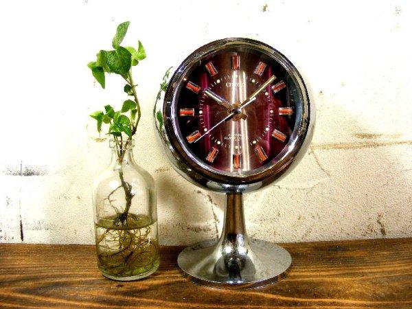 画像1: 1970年代・シチズン・ミューズ・目覚時計・手巻式・51129・球型・足付き・紫・グラデーション文字盤(電池式・スイープ・クォーツ改造)