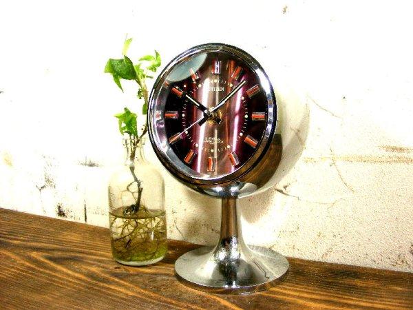 画像2: 1970年代・シチズン・ミューズ・目覚時計・手巻式・51129・球型・足付き・紫・グラデーション文字盤(電池式・スイープ・クォーツ改造)