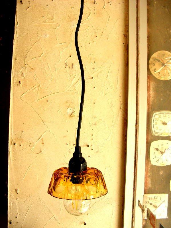 画像2: 昭和40年代頃・アンバーガラス・器・ランプシェード(LEDフィラメント電球)