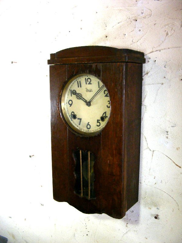画像2: 昭和初期頃・オキュパイド・ジャパン・明治時計・振り子時計(電池式・クォーツ改造)