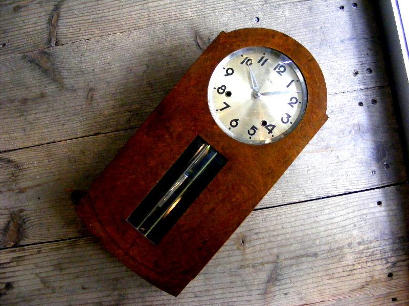 大正頃のアンティーク柱時計のRUBY・ルビー印・加賀屋商店・R型・振り子時計(電池式・クォーツ改造)が仕上がりました。