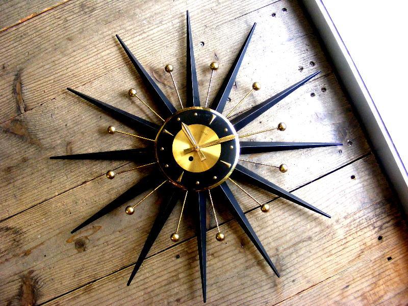 1950年代ドイツのヴィンテージ・ウォールクロックのWelby・ウェルビー・アトミック・サンバースト・クロック・801・手巻式・ゴールドXマットブラック(電池式・クォーツ改造)が仕上がりました。