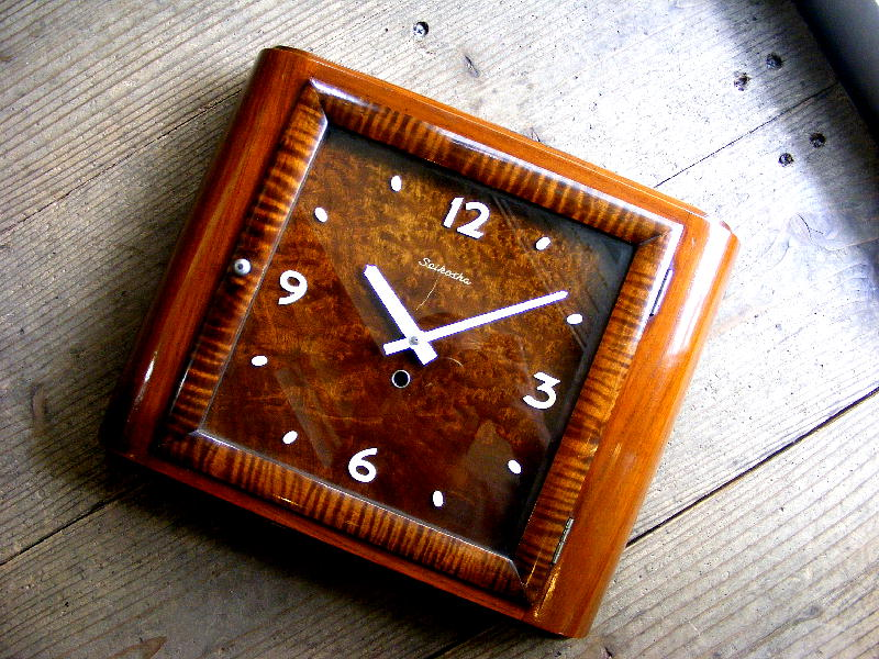 昭和初期頃のアンティーククロックの精工舎・角型・時計・手巻式・#1413(電池式・クォーツ改造)が仕上がりました。