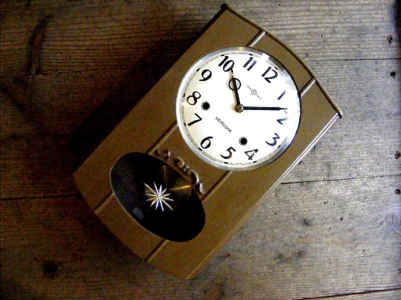 昭和初期頃・精工舎・振り子時計・#1734・黄土色(電池式・クォーツ改造)が仕上がりました。